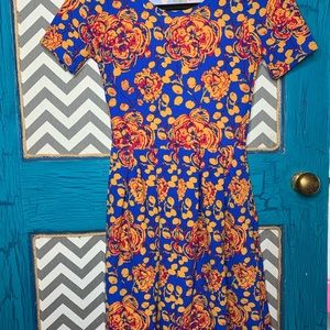 LuLaRoe XXS Amelia. Blue mustard and red